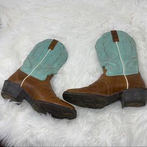 Ariat Turquoise Blue and Brown Western Boots